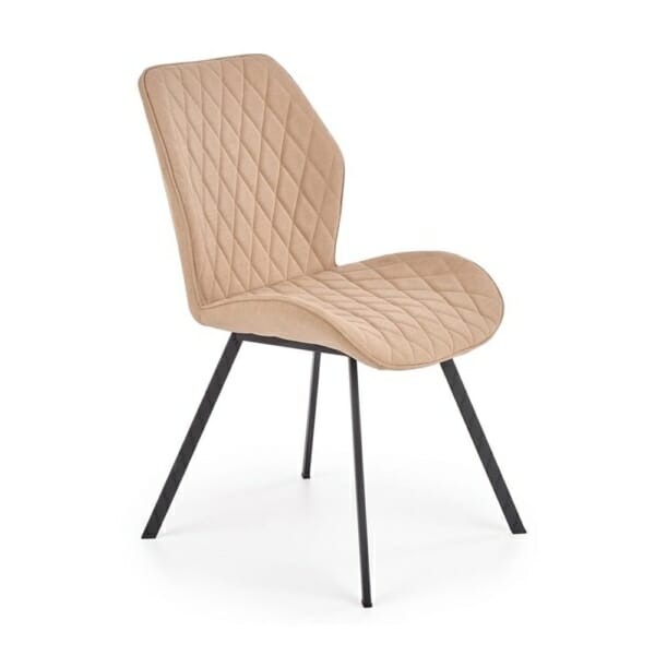 Трапезен стол с гофрирана текстилна дамаска (3 цвята) - бежов
