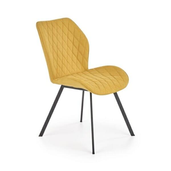 Трапезен стол с гофрирана текстилна дамаска (3 цвята)