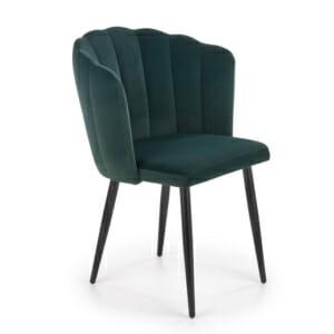 Трапезен стол с кадифена дамаска и метални крака Shell - тъмнозелен цвят