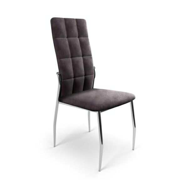 Трапезен стол с метални крака и дамаска (3 цвята) - сив