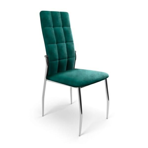 Трапезен стол с метални крака и дамаска (3 цвята) - тъмнозелен