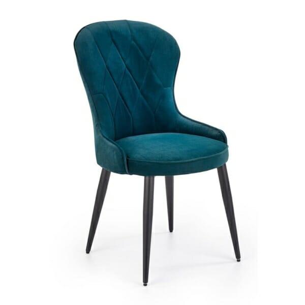 Трапезен стол с плюшена дамаска на ромбове (3 цвята) - тъмнозелен