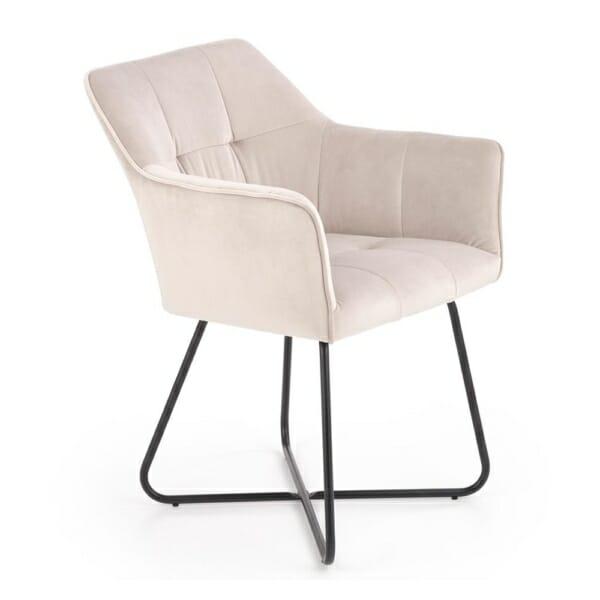 Трапезен стол с подлакътници и метална основа