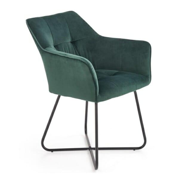 Трапезен стол с подлакътници и метална основа - тъмнозелен