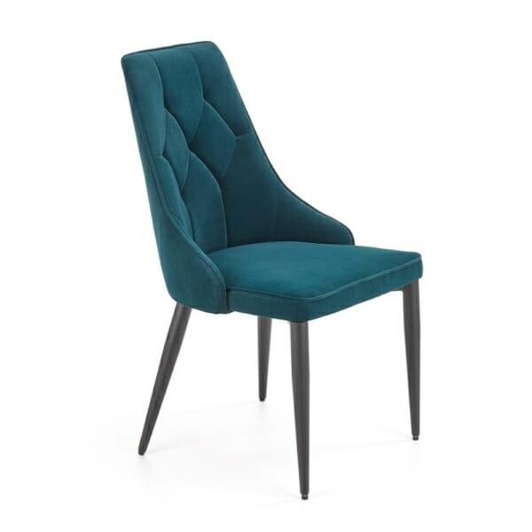 Трапезен стол с висока облегалка и метална основа - тъмнозелен