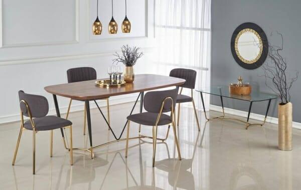 Трапезна маса с дървен плот и метални крака Ману