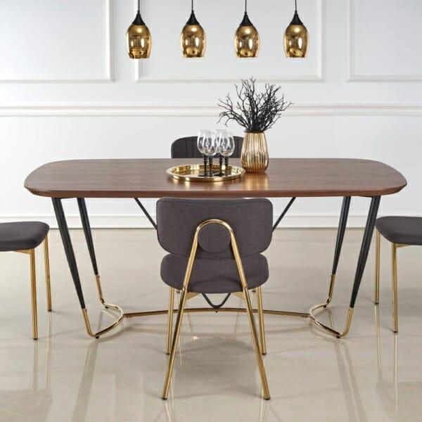 Трапезна маса с дървен плот и метални крака Ману - отпред