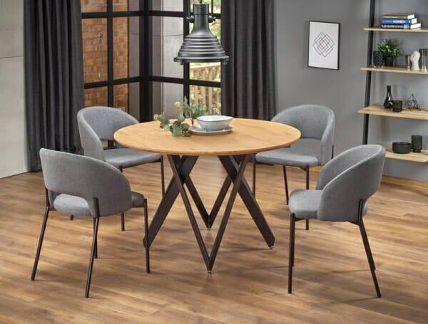 Трапезна маса с кръгъл дървен плот Молина