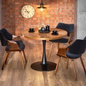 Трапезен стол с кръгъл дървен плот и метална основа