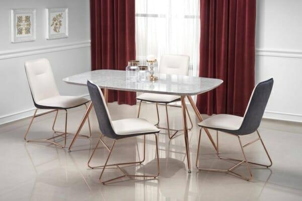Трапезна маса с плот имитиращ сив мрамор Барки
