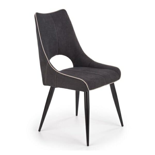 Тъмносив трапезен стол с текстилна дамаска