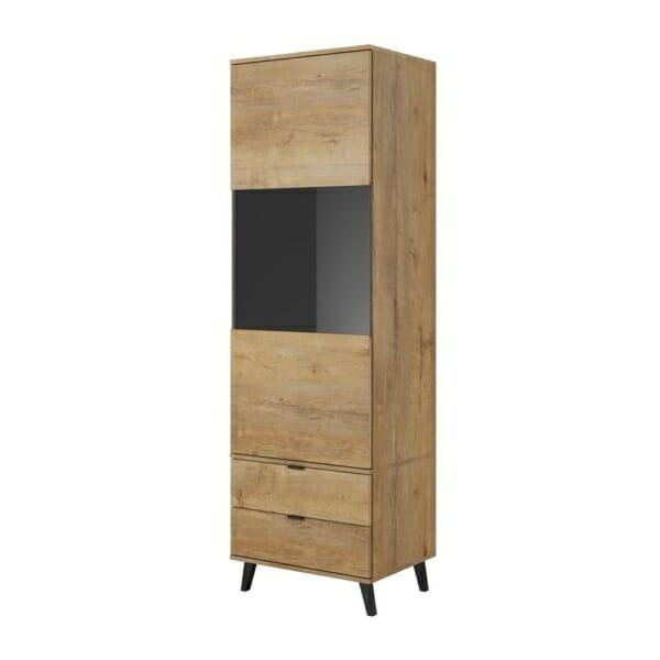 Висок шкаф с крачета в цвят дъб лефкос серия Нестор