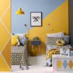 Детска стая в жълто и синьо