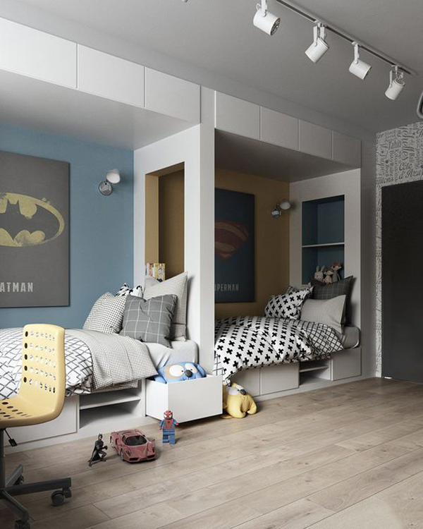 Детска стая за момче или момиче в сиво