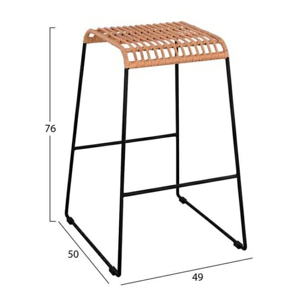 Бар стол без облегалка за външна употреба - размери