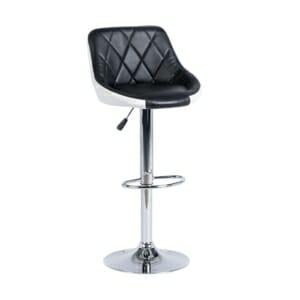 Бар стол от еко кожа и метал в черно и бяло