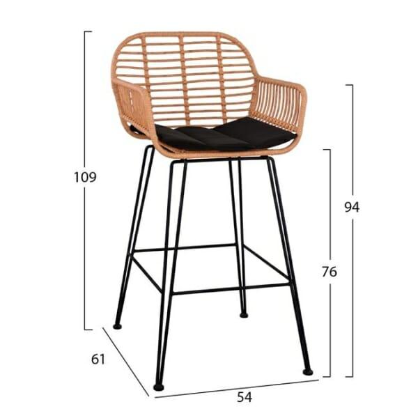 Ратанов бар стол за външна употреба - размери