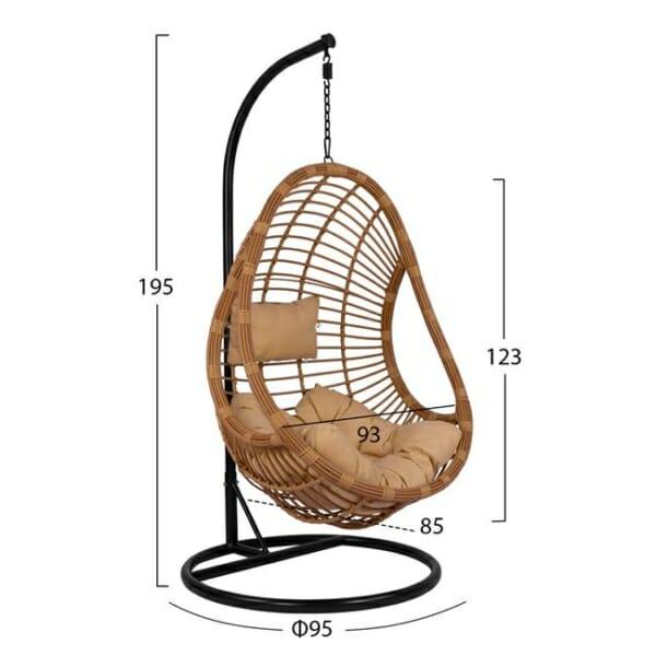 Бежова висяща градинска люлка от ратан Сенса - размери