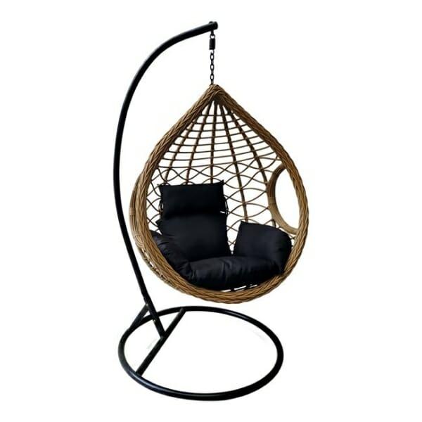Бежово-черна градинска люлка с възглавница тип гнездо Трент