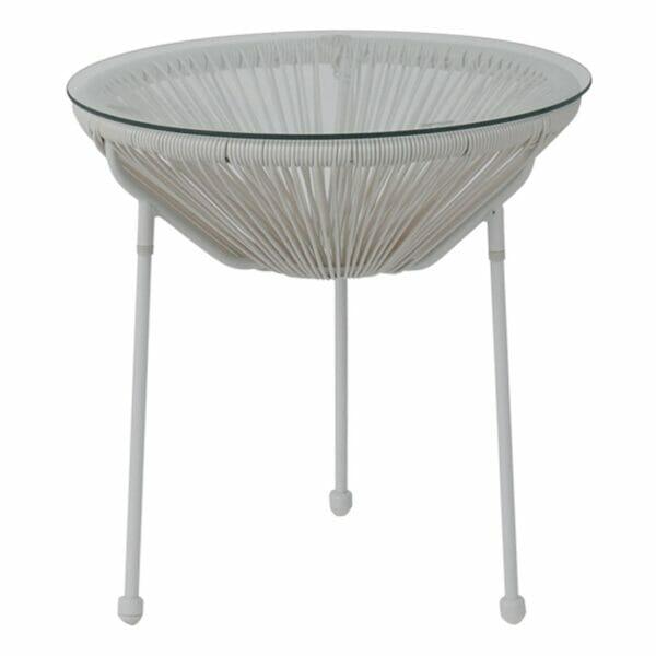 Бяла кръгла градинска маса със стъклен плот серия Бали