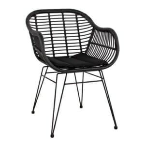 Черен градински стол с подлакътници