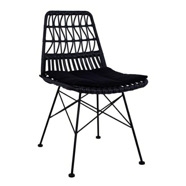 Черен градински стол с възглавница