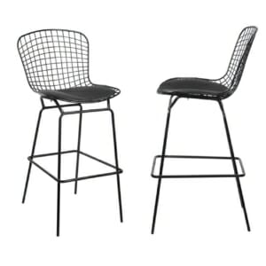 Черен метален бар стол със седалка от еко кожа