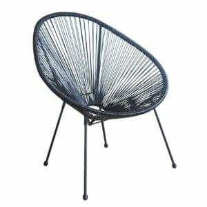 Черно градинско кресло с овална форма серия Бали