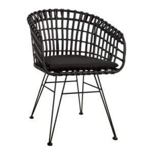 Черно градинско кресло с подлакътници