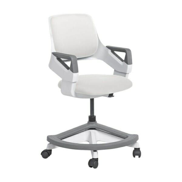Детски офис стол с повдигащ механизъм (4 цвята) - бял