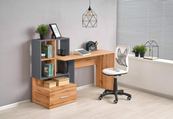 Дървено бюро за домашен офис в 2 цвята с мини секция (2 варианта)