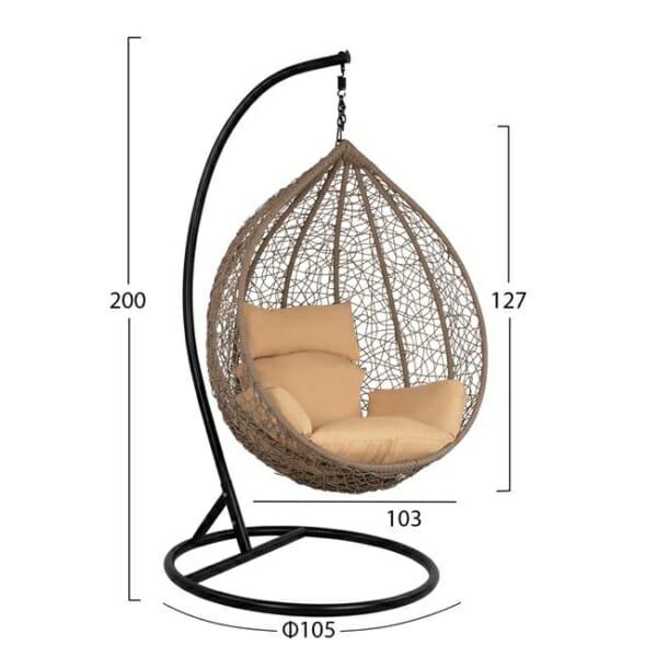 Градинска люлка тип гнездо Лони - сив цвят - размери