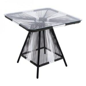 Градинска маса със стъклен плот в бяло и сиво серия Бристол