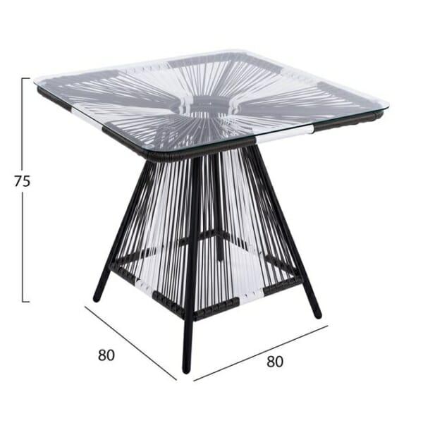 Градинска маса със стъклен плот в бяло и сиво серия Бристол - размери