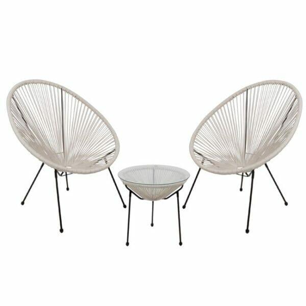 Градински сет от 2 кресла и масичка серия Бали - бял цвят