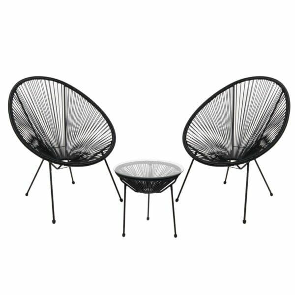 Градински сет от 2 кресла и масичка серия Бали - черен цвят