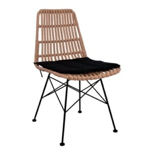 Градински стол в метални крака и ратанова седалка