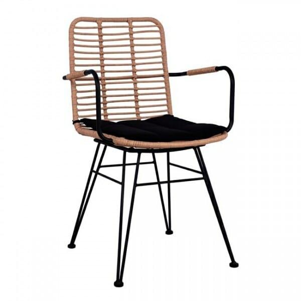 Градински стол в черно и бежово