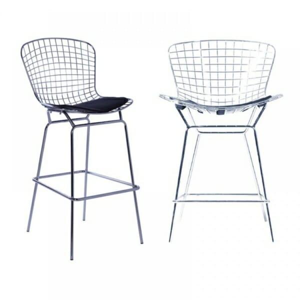 Хромиран метален бар стол със седалка от еко кожа