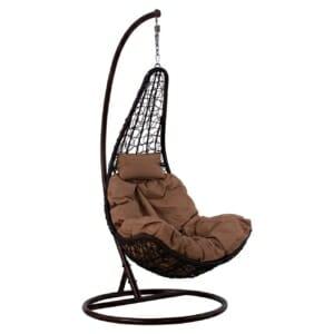 Кафяв висящ градински стол тип гнездо