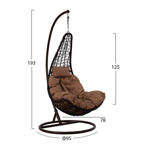 Кафяв висящ градински стол тип гнездо - размери
