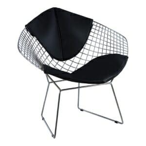 Кресло от метал и еко кожа - хром