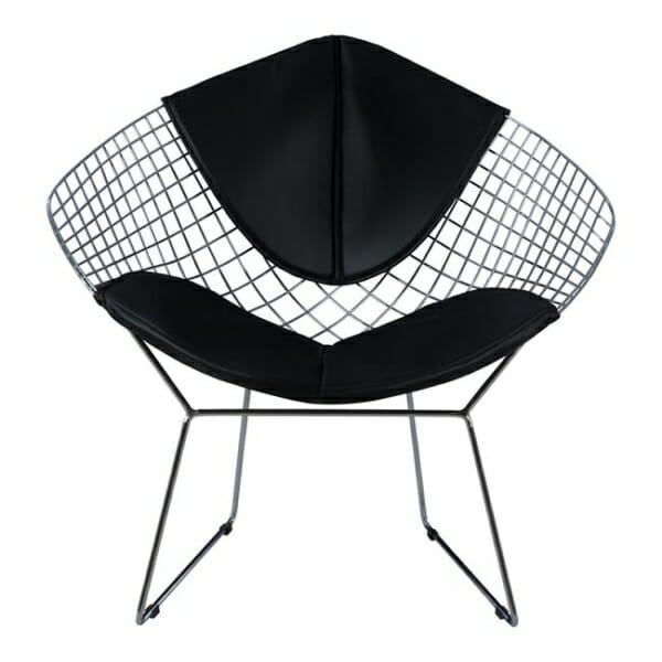 Кресло от метал и еко кожа - отпред