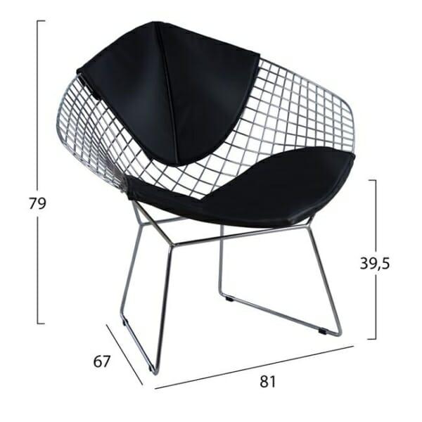 Кресло от метал и еко кожа - размери