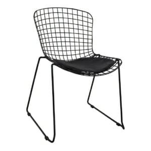 Метален стол със седалка от еко кожа - черен