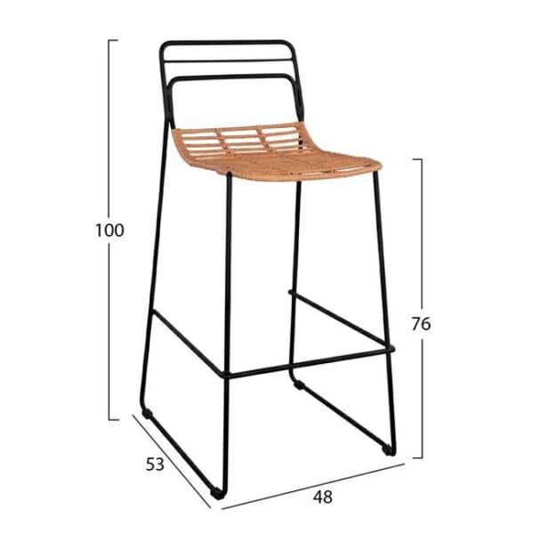 Минималистичен бар стол за градина - размери