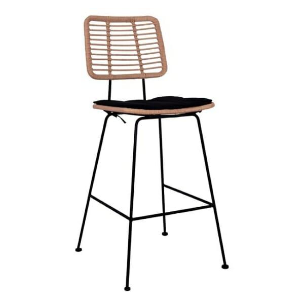 Модерен бар стол в черно и бежово