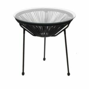 Помощна градинска маса с кръгъл стъклен плот Бали - черен цвят