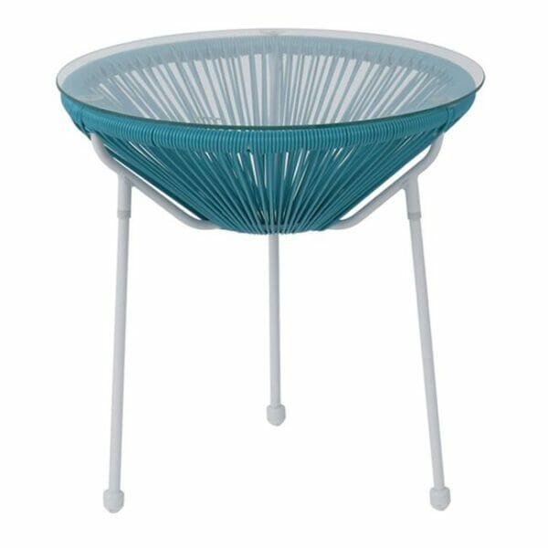 Синя кръгла градинска маса със стъклен плот серия Бали