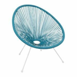 Синьо градинско кресло с бели метални крачета серия Бали